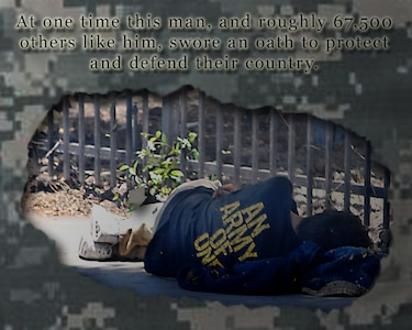 Within the United States, there are roughly 636,000 individuals who can be classified as homeless – of those, about 67,500 are veterans. That means nearly 11 percent of people living on the street or in a shelter were at one time defending this nation with their lives. (U.S. Air Force graphic by Senior Airman Jarad A. Denton/Released)