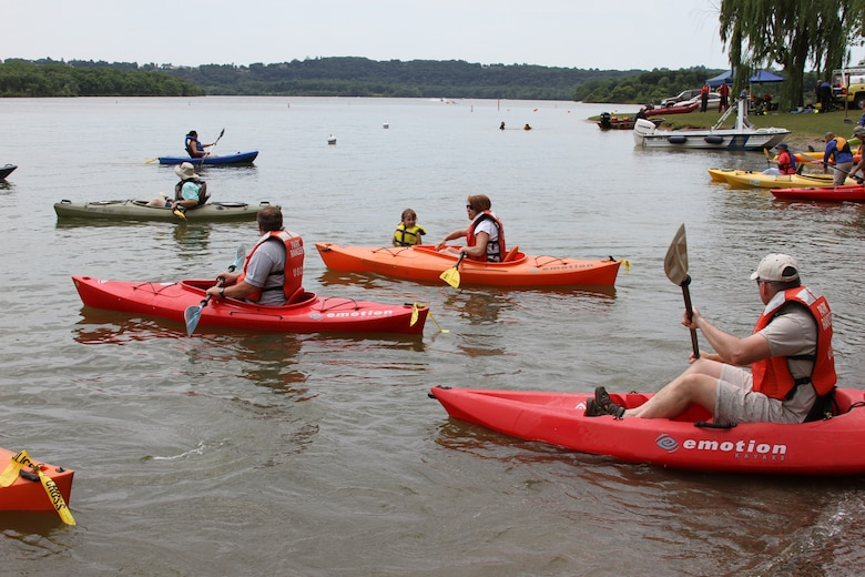 Kayakers explore Blue Marsh Lake on Get Outdoors Day in 2012.