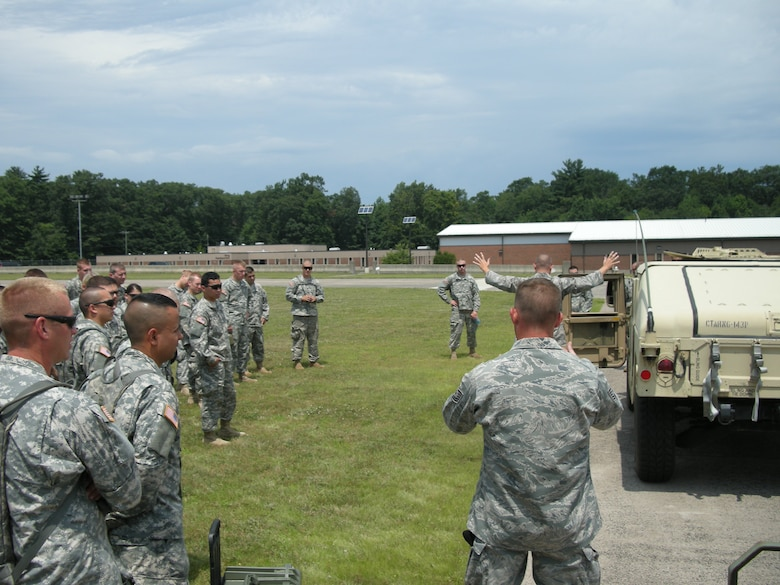 Members of the Connecticut Army National Guard 248th Engineer Company out of Norwich participate in specialized training as they received a glimpse into the Connecticut Air National Guard's flightline air base defense operations with the 103rd Security Forces Squadron at Bradley Air National Guard Base, East Granby, Conn. July 17, 2012. (Photo courtesy of Tech. Sgt. Richard Marks, 103rd Security Forces Squadron)