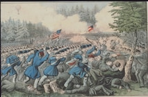 The Battle of Fair Oaks, Va., is depicted in this painting by Currier and Ives. In the upper left is the Intrepid, one of seven balloons used by the Union Army Balloon Corps for intelligence and reconnaissance purposes. The balloon is credited with saving Union Army Gen. Samuel Heintzelman's army from defeat in the battle, which took place May 31, 1862. (U.S. Air Force photo)