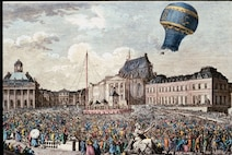 This item from the Gimbel Collection depicts one of the first balloon flights over Marseilles, France, in 1783. The balloon is named a Montgolfiere after its inventors, French paper makers Joseph and Jacques Montgolfier. Its first flight, over Annonay, France, reached an altitude of 6,562 feet. (U.S. Air Force photo)