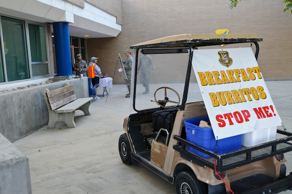 Volunteers from the Boise Civil Air Patrol sell breakfast burritos each Saturday and Sunday morning of primary drill on the south side of Building 400 and in front of the base theater, as well by golf cart.