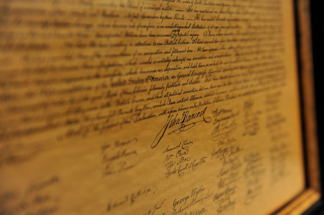 The Declaration of Independence, drafted and signed July 4, 1776 was set in place to establish that all men are created equal and that all are entitled to freedom. This is one of many historical documents present in the courtroom as a reminder of the foundation the United States and its judicial system stands on. (U.S. Air Force photo by Airman 1st Class Daniel Blackwell/Released)