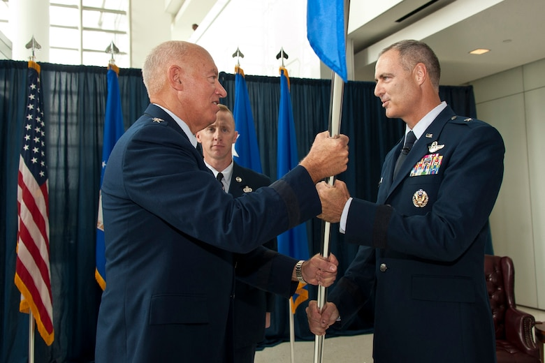 Brig. Gen. R. Scott Williams, the commander of the Air National Guard Readiness Center, assumes command of the ANGRC from Lt. Gen. Harry M. Wyatt III, the director of the ANG, during an assumtion of command ceremony Aug. 7, 2012, at the ANGRC, Joint Base Andrews, Md. The ANGRC ensures ANG field units are properly resourced to train and equip in support of the state and federal missions across the entire spectrum of militry operations and provide support sustaininbg ANG Airmen