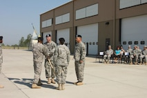 1LT Steimle takes the Guidon for the last time.