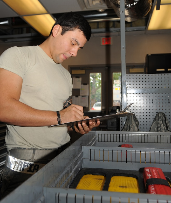 Senior Airman Francisco Tapia, 2nd Aircraft Maintenance Squadron support section, inventories torque wrenches on Barksdale Air Force Base, La., Aug. 8. The 2 AMXS support section maintains 24-hour coverage and consists of three shifts that each work nine-hour days. When a new shift comes in, they take inventory of all the equipment as it is returned. (U.S. Air Force photo/Airman 1st Class Benjamin Gonsier)(RELEASED)