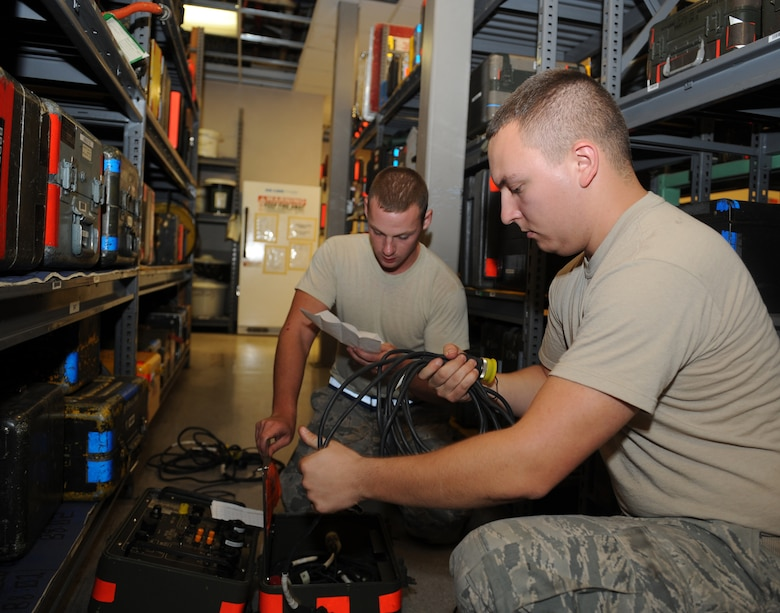 Senior Airmen Luke Jordan and Darren Dalton, 2nd Aircraft Maintenance Squadron support section, conduct an inspection on an interconnecting box on Barksdale Air Force Base, La., Aug. 8. After the inspection, it was determined there were zero defects on the piece of equipment. The 2 AMXS support section is responsible for more than 21,000 tools valued at $15 million. (U.S. Air Force photo/Airman 1st Class Benjamin Gonsier)(RELEASED)