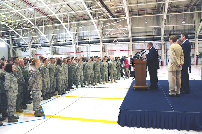 The Secretary of Defense Honorable Leon E. Panetta visits the Niagara Falls Reserve Station on Aug. 9, 2012. He thanked the Guard and Reserve Airmen, Soldiers and civilian employees for their service. (U.S. Air Force Photo/Senior Master Sgt. Ray Lloyd)