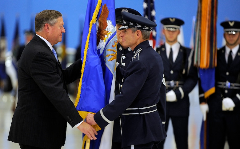 Gen. Norton Schwartz relinquishes the chief of staff flag to Secretary of the Air Force Michael Donley during a ceremony at Joint Base Andrews, Md., Aug. 10, 2012.  Schwartz served in the Air Force for 39 years, the last four as the Air Force's senior uniformed leader. (U.S. Air Force photo/Scott M. Ash)