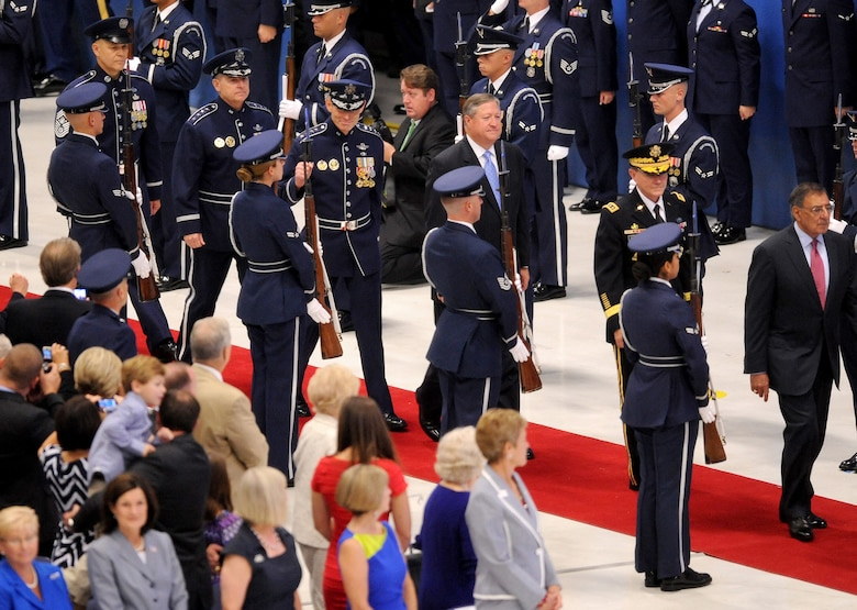 (Right to left) Secretary of Defense Leon Panetta,  Chairman of Joint Chiefs of Staff Gen. Martin Dempsey, former Air Force Chief of Staff Gen. Norton Schwartz, current Air Force Chief of Staff Gen. Mark A. Welsh III and Chief Master Sergeant of the Air Force James Roy  arrive during the Air Force Chief of Staff Retirement and Appointment ceremonies at Joint Base Andrews, Md., Aug. 10, 2012. Schwartz served in the Air Force for 39 years, the last four years as the Air Force's senior uniformed leader. Prior to becoming the Air Force chief of staff, Welsh commanded U.S. Air Forces in Europe. (U.S. Air Force photo/Master Sgt. Cecilio Ricardo)