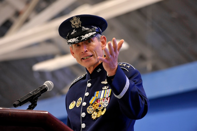 Gen. Norton Schwartz addresses the audience during the Air Force chief of staff transition ceremony at Joint Base Andrews, Md., Aug. 10, 2012. Schwartz served in the Air Force for 39 years, the last four years as the Air Force's senior uniformed leader. (U.S. Air Force photo/Michael J. Pausic)