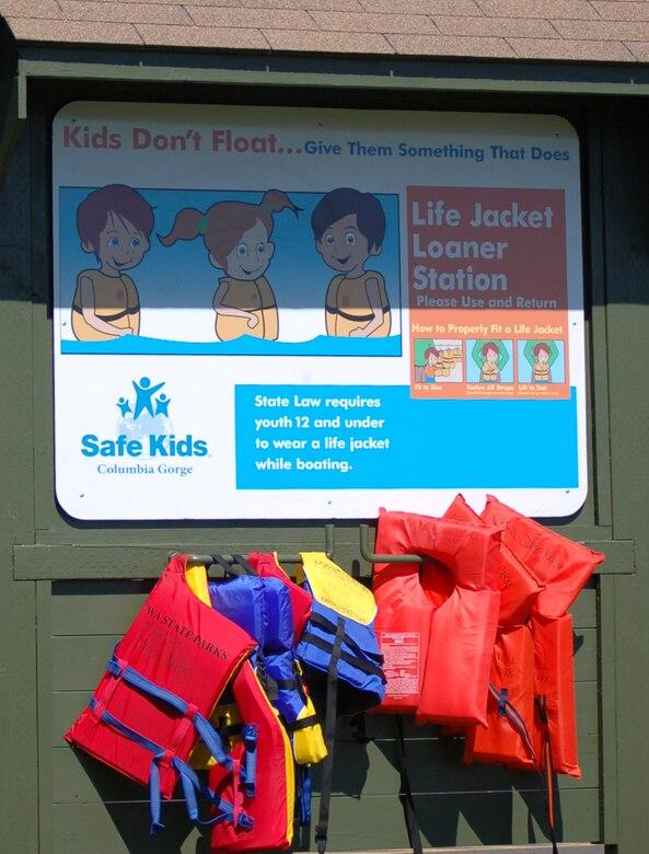 Life jacket loaner board at Maryhill State Park