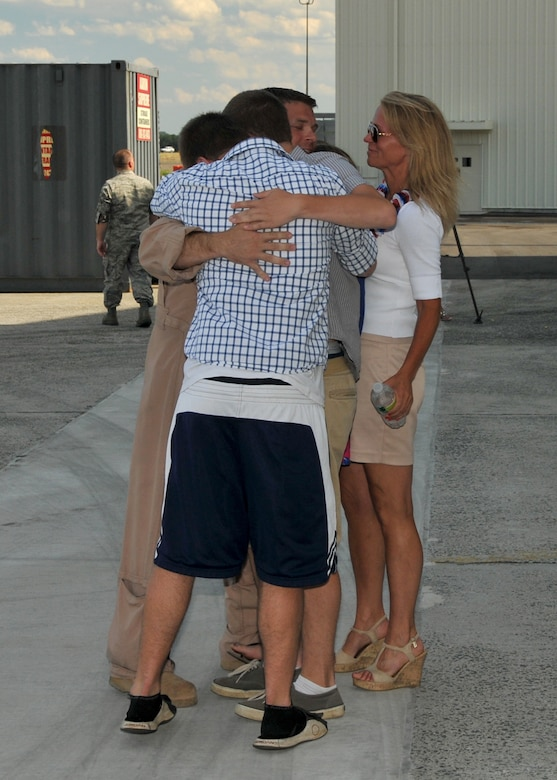 On July 10, 2012, about 200 104th Fighter Wing members returned home from a 90-day, Air Expeditionary Force deployment.  Family and friends welcomed the members home with cheers, tears and hugs.