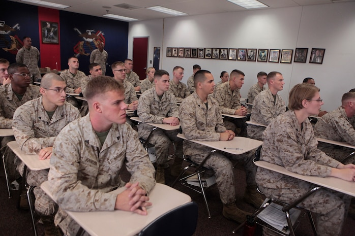 """Marines with Cherry Point Corporals Leadership Course Class 274-12 listening intently during a senior enlisted panel as part of Cherry Point Corporals Leadership Course, Aug. 13. During the first week of corporals course the instructors concentrate on introducing corporals to their first Professional Military Education Course. """"You get a couple of classes about nutrition, physical fitness, development of the NCO mindset,"""" said Gunnery Sgt. Valdez R. Baker Jr., staff non commissioned officer in charge for Cherry Point Corporals Leadership Course. """"Different things like mentorship and leadership classes that help break them in and help them understand this is your first PME and this is what to expect."""""""