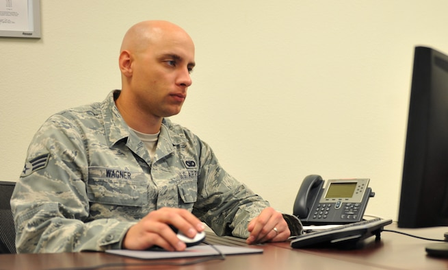U.S. Air Force Senior Airman Tony Wagner serves as a 366th Security Forces Squadron resource advisor and was selected as the squadron's Warrior of the Week.  (U.S. Air Force photo/Airman 1st Class Heather Hayward)