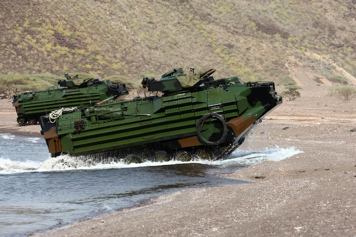 Assault Amphibious Vehicles carry Marines with Alpha Company, Battalion Landing Team 1st Battalion, 2nd Marine Regiment, 24th Marine Expeditionary Unit, to their objective during an amphibious training raid in Djibouti, Aug. 15, 2012. Alpha Company came ashore from the USS New York, which loitered off the coast of Djibouti in support of 24th MEU amphibious operations. Elements of the 24th MEU are operating in and around Djibouti, taking part in and coordinating various unilateral exercises and bilateral events with foreign militaries. The 24th MEU is deployed with the Iwo Jima Amphibious Ready Group as a theater reserve and crisis response force in support of U.S. Central Command and the U.S. Navy's 5th Fleet area of responsibility.