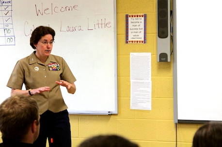 Colonel Laura Little, commanding officer, Marine Corps Network Operations and Security Center , speaks to students at Maine-Endwell High School during a visit for the 7th annual Maine-Endwell School District's Graduate of Distinction Ceremony, April 27, 2012.  