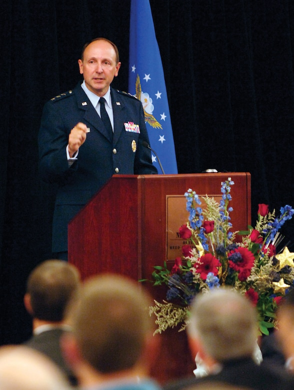 Lt. Gen. Bruce Litchfield, commander of the Air Force Sustainment Center located at Tinker Air Force Base, speaks to a crowd of business representatives from across the country gathered Tuesday for the annual Tinker and the Primes event at the Midwest  City Reed Center. (Air Force photo by Margo Wright)