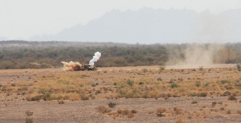 A bomb deployed from a U.S. Air Force A-10 finds its target during the 7th biannual Hawgsmoke Competition held at Gila Bend Auxiliary Field Aug. 16, 2012. Hawgsmoke is a bombing and tactical gunnery competition that features A-10 squadrons from around the world. (U.S. Air Force photo by Airman 1st Class Saphfire Cook/Released)