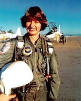 2d Lt Marilyn Koon became the Air National Guard's first female pilot in January 1978 when she pinned on her silver wings. Flew with AZ ANG. (NGB PAI-H)