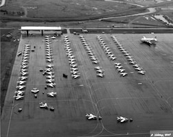 F-84Fs of the Federalized Air National Guard in Newfoundland, November 1961, prior to flying the Atlantic to Europe in response to the Berlin Crisis. Because of the long over-water distance to the next airfield in the Azores, the planes were towed to the end of the runway prior to takeoff to conserve fuel. During this Operation Stair Step deployment of more than 200 fighter aircraft (the largest overseas movement of a fighter force since World War II), not a single plane was lost. (U.S. Air Force photo)