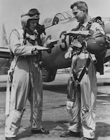 """While escorting B-29s near """"MiG Alley"""" over North Korea on 26 June 1951, 1st Lt. Arthur E. Olinger and Capt. Harry Underwood of the 182nd FBS, Texas,  shared credit for the Air Guard's first jet kill, a MiG-15."""