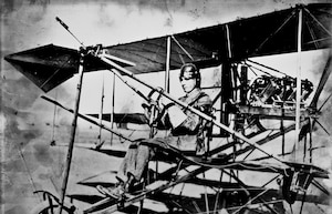 National Guard aviation predated World War I. PFC Beckwith Havens, celebrated as the Guard's first pilot, is shown here on an aerial photo mission. He first flew for the Guard in joint maneuvers with Guard and Army units in 1912.