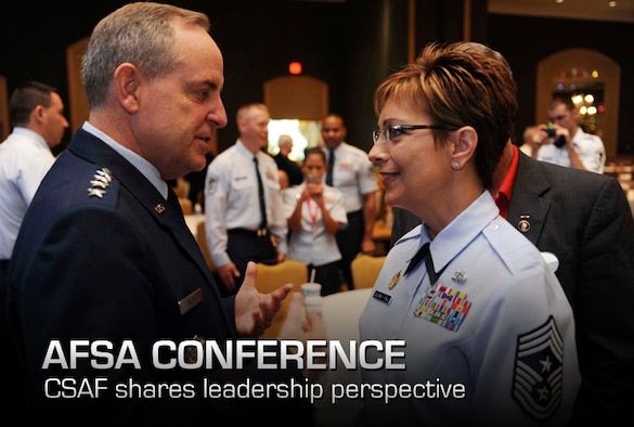 Air Force Chief of Staff Gen. Mark A. Welsh III talks with Chief Master Sgt. Denise Jelinski-Hall after speaking at a senior leaders' perspective during the Air Force Sergeants Association Professional Airmen's Conference in Jacksonville, Fla., Aug. 15, 2012. During his speech, Welsh emphasized the role leaders play in Airmen's lives, as well as the importance of leaders getting to know their Airmen. (U.S. Air Force photo/Staff Sgt. Ciara Wymbs)