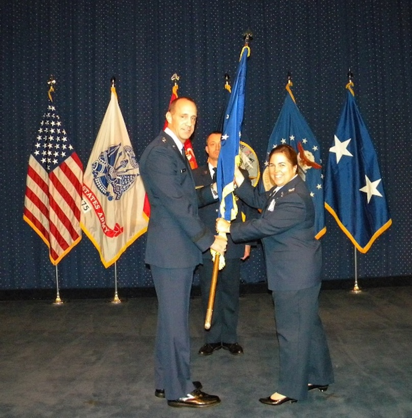 Fort Belvoir, VA - Colonel Carmen S. Goyette takes command of the Air Force Petroleum Agency on 16 August 2012.