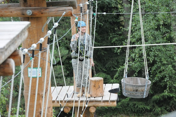GRAFENWOEHR, Germany — Lt. Col. Michelle Garcia, U.S. Army Corps of Engineers Europe District deputy commander, was among the participants negotiating the high ropes course and celebrating the opening in Grafenwoehr, Germany, July 18, 2012.