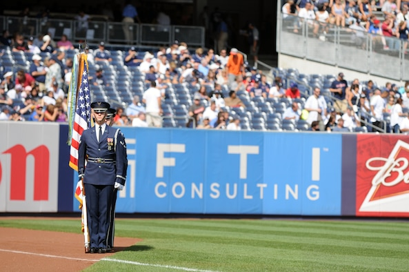 The U.S. Air Force Honor Guard Color Guard presents the colors for the Yankees vs. Red Sox game Aug. 18 at the Yankee Stadium, Bronx, N.Y. The presentation kicked off the ceremonial unit's participation in Air Force Week 2012. (U.S. Air Force photo by Senior Airman Tabitha N. Haynes)