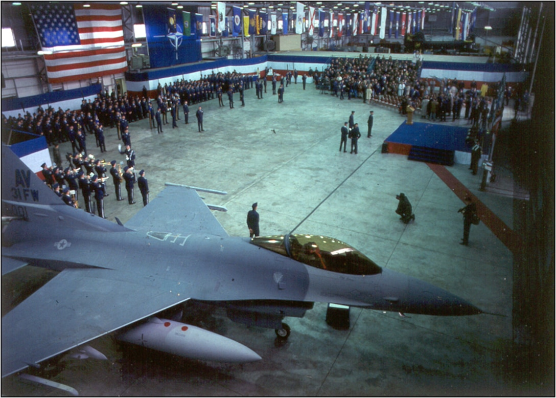 The 31st Fighter Wing activates during a ceremony at Aviano Air Base, Italy, April 1, 1994. (courtesy photo)
