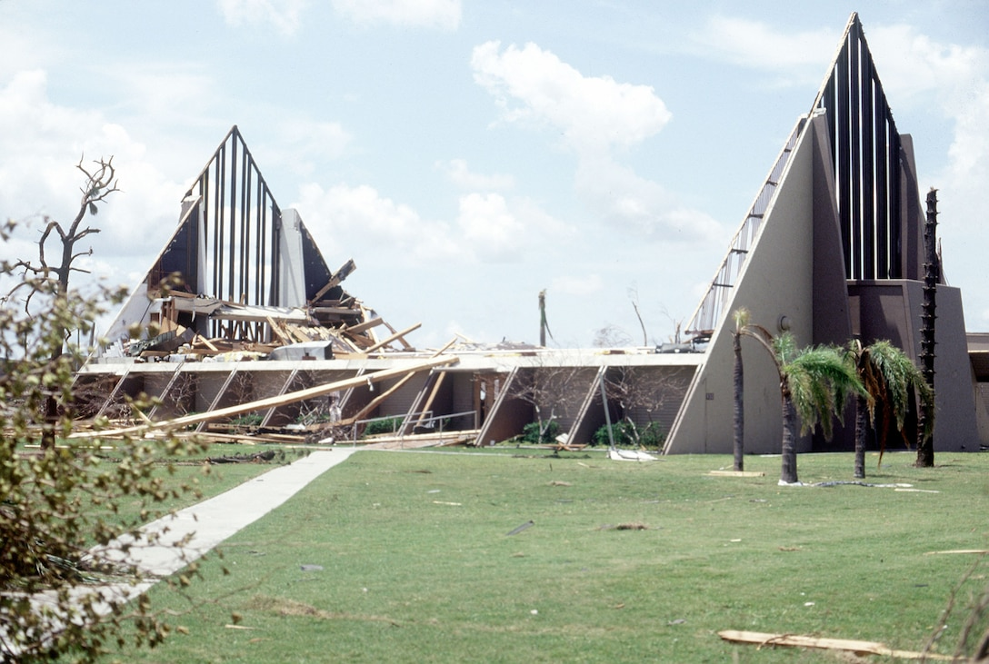 Only a portion remained of the base chapel in the aftermath of Hurricane Andrew. (U.S. Air Force photo/MSgt Don Wetterman)