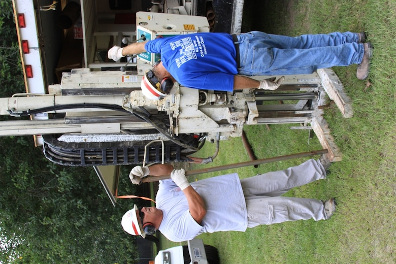 SAVANNAH, Ga. — John Haskew (left), and Jim Kanady of the U.S. Army Corps of Engineers Savannah District collect a soil sample using a Geoprobe Direct Push Rig, Aug. 16, 2012. he U.S. Army Corps of Engineers (USACE), Savannah District hosted 82 engineers, geologists, drillers, and other professionals from locations across USACE for the Joint Conference of the Geology and Geotechnical Communities of Practice, Aug. 14-16, 2012.