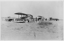 The 1st Aero Squadron in the field. This photograph has to have been taken either at Columbus prior to the flight into Mexico on March 19, 1916, or just after arrival near Casas Grandes in the morning of March 20, since Lt. Bowen crashed in S.C. No.48, the third aircraft in line, late on the morning of March 20.
