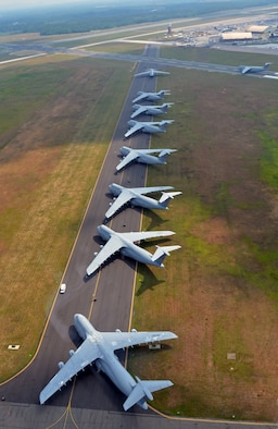 The Galaxies aligned on a Westover runway, to make room for Air Show aircraft this past August. The 2012 Great New England Air Show was the largest Westover has had since 1974, boasting more than 60 aircraft. (U.S. Air Force photo by SrA. Kelly Galloway)