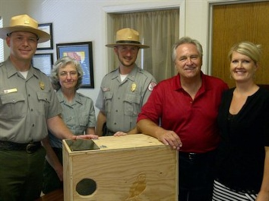 Present for the presentation of the award are, from left: Bill Miller, Black Butte Lake senior park ranger; Denice Hogan, Black Butte Lake project assistant; Seth Jentzen, Black Butte Lake park ranger; Jim Nielsen, California Assemblyman, 2nd District; and Kandi Manhart, Glenn County Resource Conservation District executive officer.