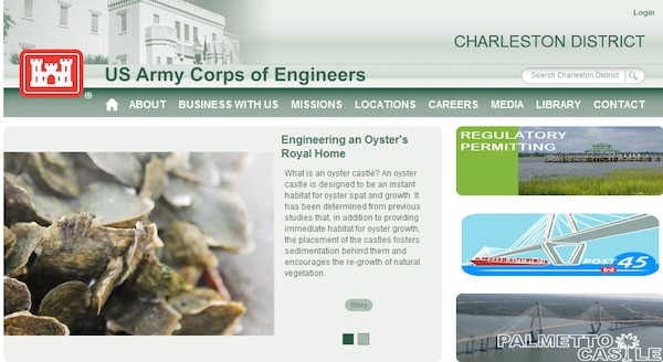 Screenshot of the new website for the Charleston District.