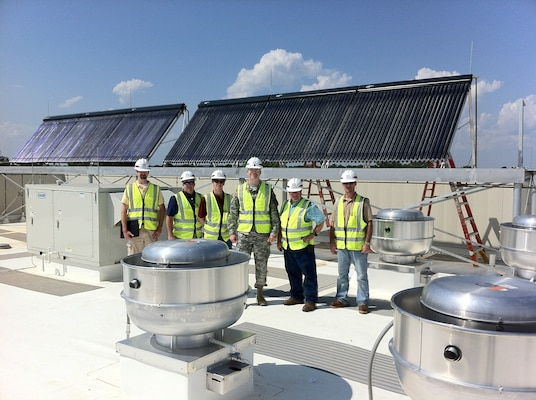 The Charleston District is using innovative new technologies, such as these solar panels on the roof of the new Quad Dining Facility at Fort Jackson, in their construction of world-class facilities.