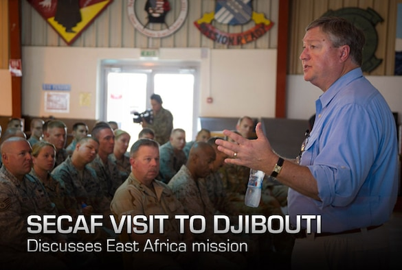 """During his visit to Camp Lemonnier, Djibouti, on Aug. 22, 2012, Secretary of the Air Force Michael Donley talks about the important role the Air Force plays in support of the Combined Joint Task Force - Horn of Africa mission.  """"Thank you for what you're doing for the Air Force and our nation,"""" Donley said. """"[To build] partner nation capacity, it takes every Airman doing his or her job.""""  (U.S. Air Force photo/Staff Sgt. Christopher Ruano)"""