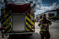 Staff Sgt. Anthony Ankeny, 628th Civil Engineer Squadron  firefighter, returns to the fire department after a drill Aug. 9, 2012, at Joint Base Charleston – Air Base, S.C. (U.S. Air Force photo/Senior Airman Dennis Sloan)