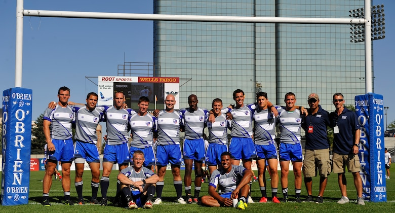 GLENDALE, Colo. -- The Air Force rugby team pose for a photo after their last match of the International Defense Sevens Tournament Aug. 19. The team lost their gold tier match, 19-21, against the French Armed Forces rugby team. (U.S. Air Force photo by Staff Sgt. Kathrine McDowell)