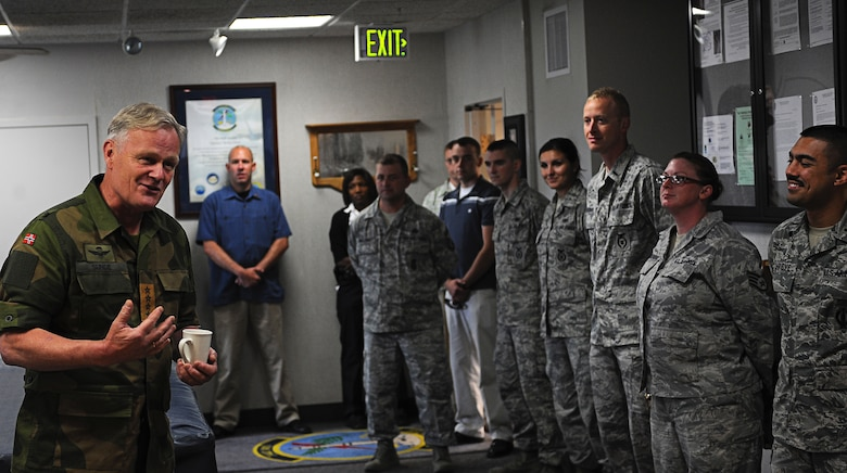 MINOT AIR FORCE BASE, N.D. -- General Harald Sunde, Chief of Defense of Norway, meets with Team Minot Security Forces personnel here, Aug. 15. The general expressed his appreciation to all the Airmen of Team Minot for the strategic deterrence they provide. (U.S. Air Force photo/Senior Airman Desiree Esposito)