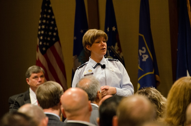 Maj. Gen. Suzanne Vautrinot, 24th Air Force and Air Forces Cyber commander, speaks to business owners and consultants during the 24th Air Force and Air Force Intelligence, Surveillance and Reconnaissance Industry Day at the Hyatt-Regency in downtown San Antonio Aug. 7. More than 160 people represented their companies at the two-day event. (U.S. Air Force photo by Tech. Sgt. Scott McNabb)