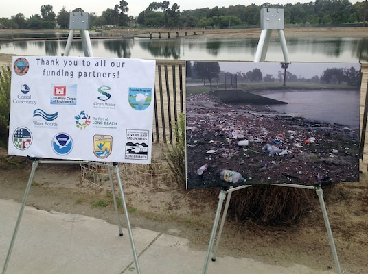 Posters at a ceremony for the Colorado Lagoon Ecosystem Restoration Project show the effects of uncontrolled runoff and litter on the water body and recognize the partners who contributed to the successful completion of the second phase of the project to return a healthy, vibrant natural resource to residents and visitors to the area.
