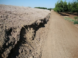 STOCKTON, Calif. — A road encroaches on the toe of a levee in the Stockton, Calif., area, shown during a levee inspection in 2010. The U.S. Army Corps of Engineers inspects levees in its Rehabilitation and Inspection Program to ensure levees don't pose an unaccep