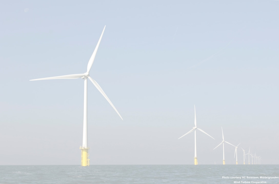 Wind turbines working in the ocean. Wind power is being investigated as a sustainable resource in South Carolina.