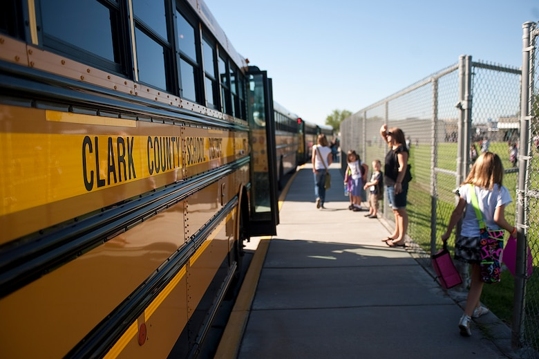 Children arrive at Lomie Heard Elementary School Aug. 27, 2012, at Nellis Air Force Base, Nev. Today was the first day of school for Clark County School District students. (U.S. Air Force photo by Staff Sgt. Christopher Hubenthal)