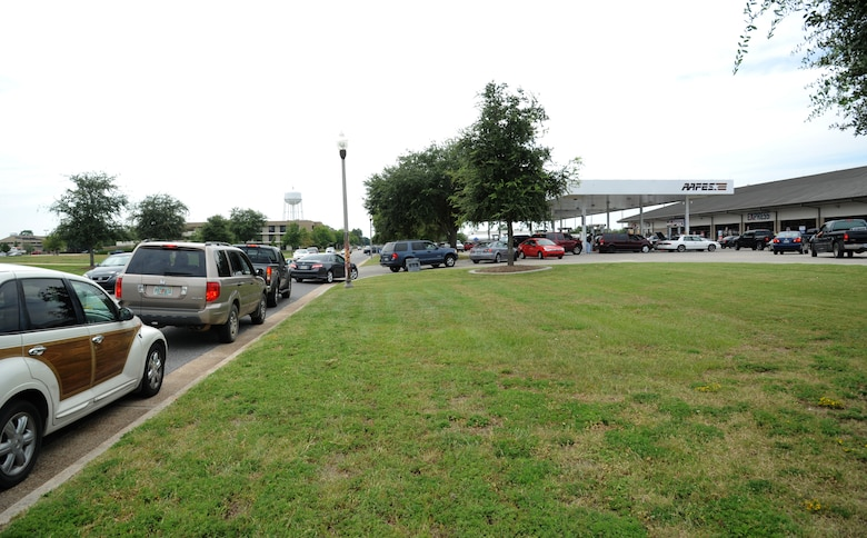 People line up to fuel their vehicles at the Express Aug. 27, 2012, at Keesler Air Force Base, Miss. Keesler personnel are taking preventative measures to prepare and protect themselves and Keesler's assets as the base commander has declared HURCON 3, meaning destructive winds of 58 MPH or greater are expected as Isaac approaches. (U.S. Air Force photo by Kemberly Groue)