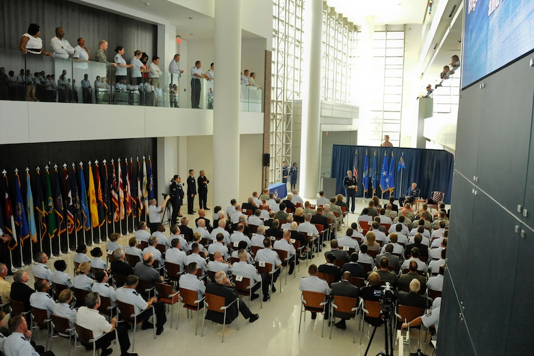 Brig. Gen. R. Scott Williams, the commander of the Air National Guard Readiness Center, discusses his goals during an assumption of command ceremony after he assumed command of the ANGRC from Lt. Gen. Harry M. Wyatt III, the director of the ANG, Aug. 7, 2012, at the ANGRC, Joint Base Andrews, Md. The ANGRC ensures ANG field units are properly resourced to train and equip in support of the state and federal missions across the entire spectrum of military operations and provide support sustaining ANG Airmen throughout their careers. (National Guard photo by Master Sgt. Marvin Preston/RELEASED)